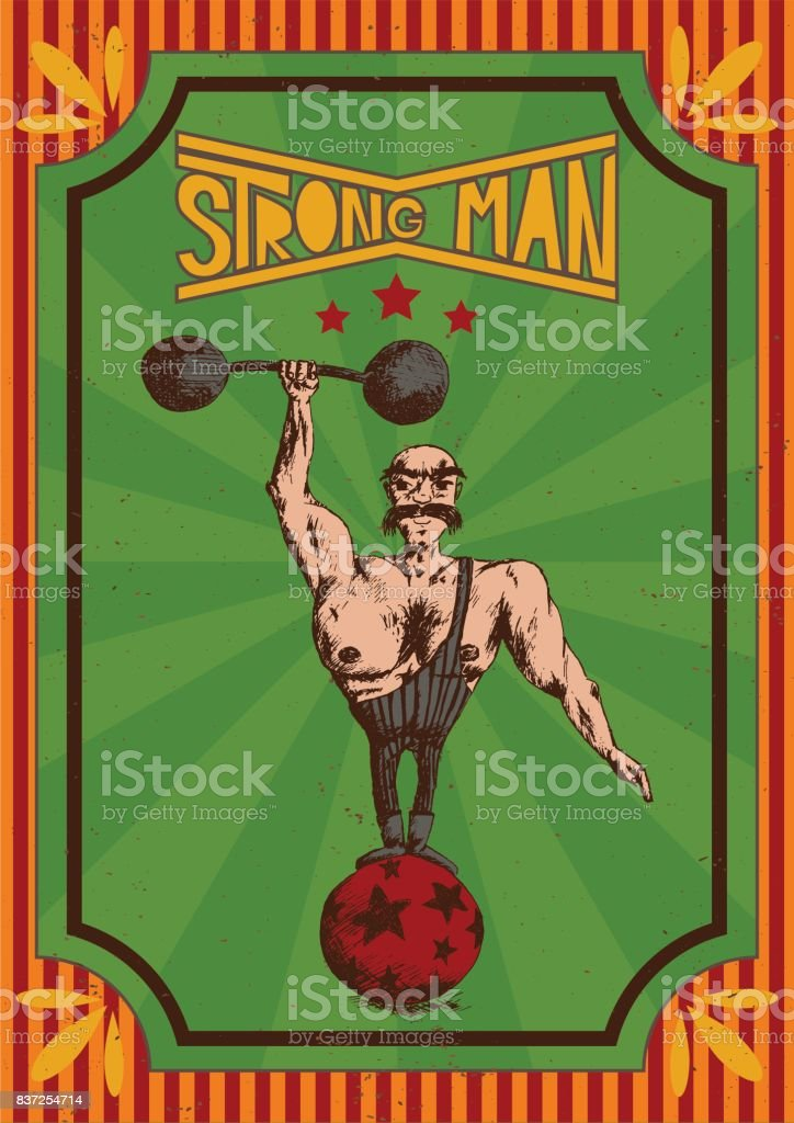 Vintage poster of A Strongman in a Circus vector art illustration