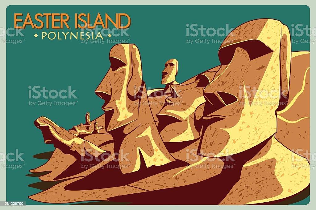 Vintage poster of Easter Island in Chile vector art illustration