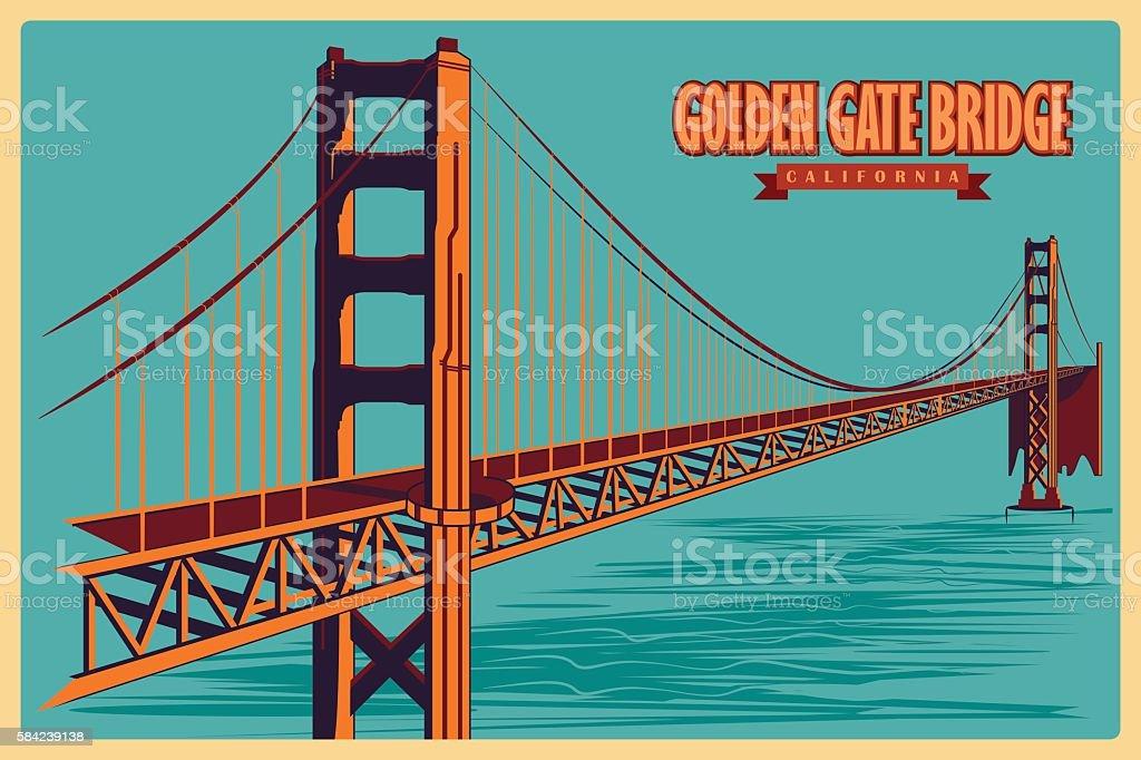 Vintage poster of Golden Gate Bridge in California famous monument vector art illustration