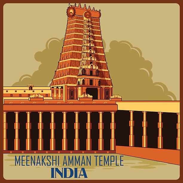 vintage poster of meenakshi amman temple in tamil nadu famous - madurai stock-grafiken, -clipart, -cartoons und -symbole