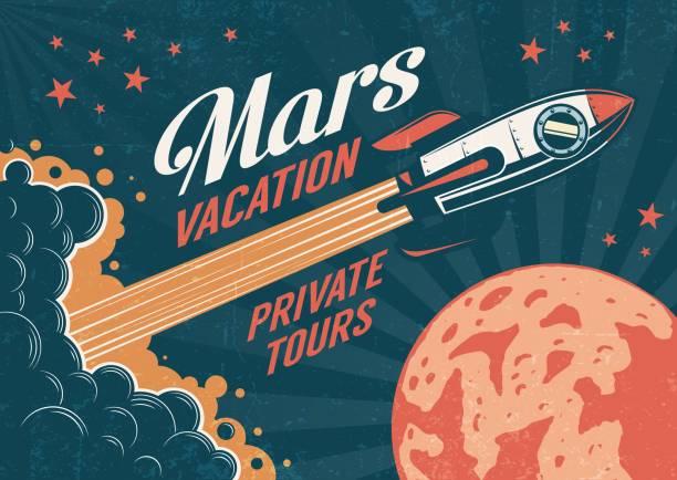 stockillustraties, clipart, cartoons en iconen met vintage poster-raket vliegt naar de planeet mars - ruimte exploratie