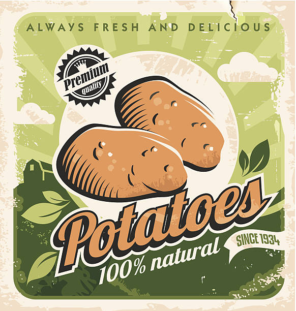 retro poster vorlage für kartoffel farm. - kartoffeln stock-grafiken, -clipart, -cartoons und -symbole