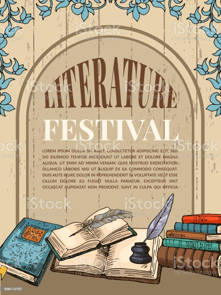 Plantilla Poster Vintage Con Las Ilustraciones De Libros De ...