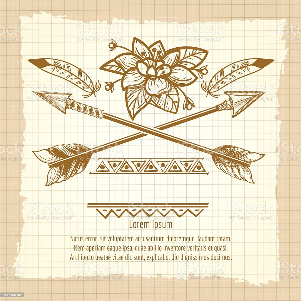 Vintage poster with arrows and flower vector art illustration