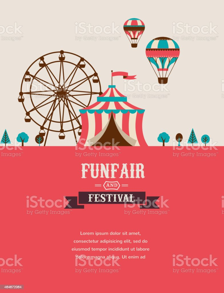 vintage poster with carnival, fun fair, circus vector background vector art illustration