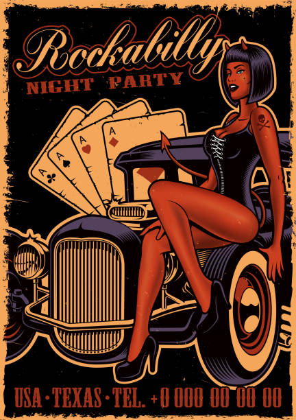 Vintage poster with girl devil on the classic car Vintage poster with girl devil on the classic car on dark background. Flyer template in rockabilly style. pin up girl stock illustrations