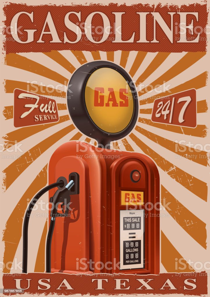 Vintage poster with old gas pump vector art illustration