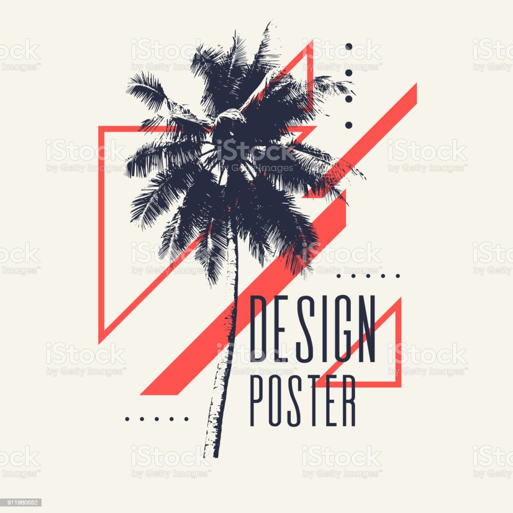 Vintage poster with palm tree and geometric shapes vector art illustration