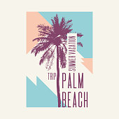 Vintage poster with palm tree and geometric shapes. Vector illustration.