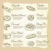 Vintage poster with hand drawn popular bakery products. Vector illustration