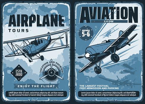 Vintage posters, custom planes aviation show