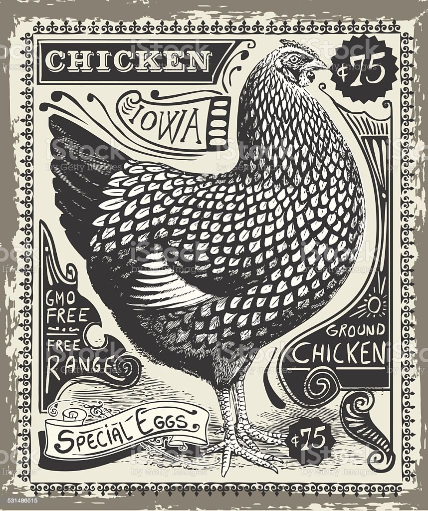 Vintage Poultry and Eggs Advertising Page vector art illustration
