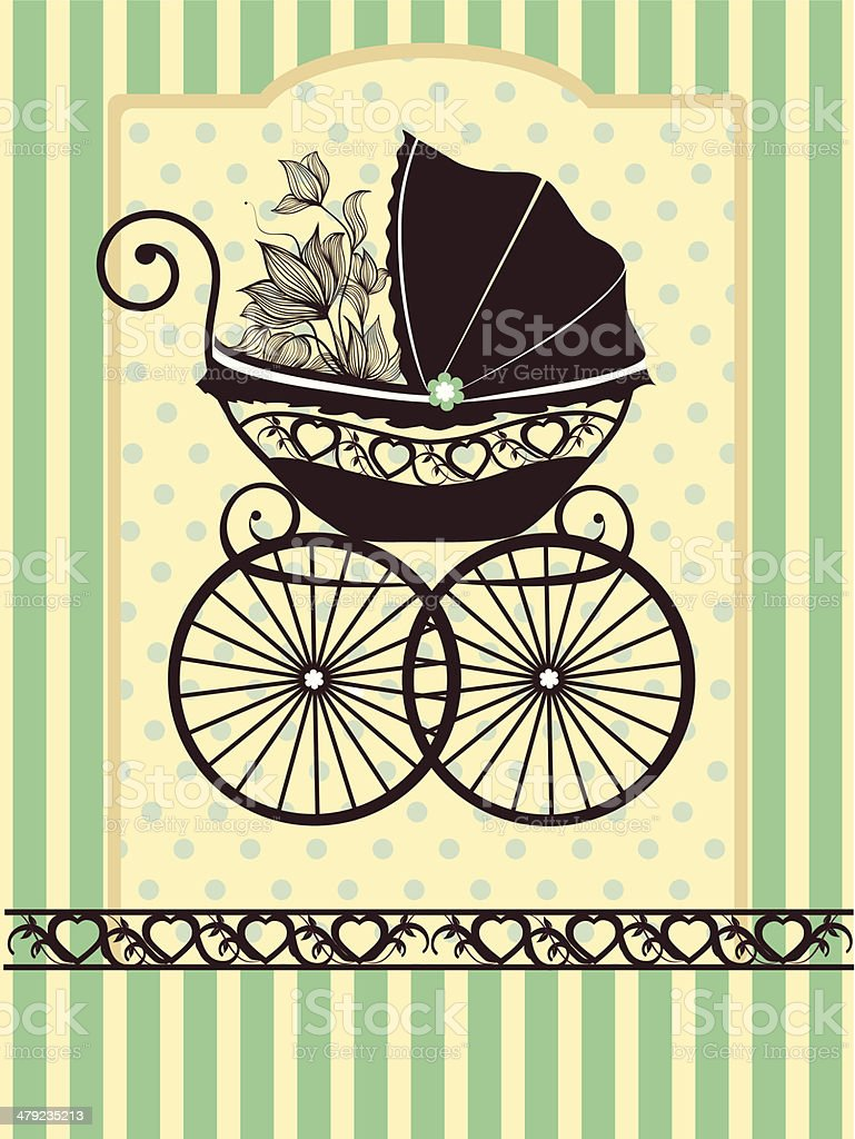 Vintage pram vector art illustration