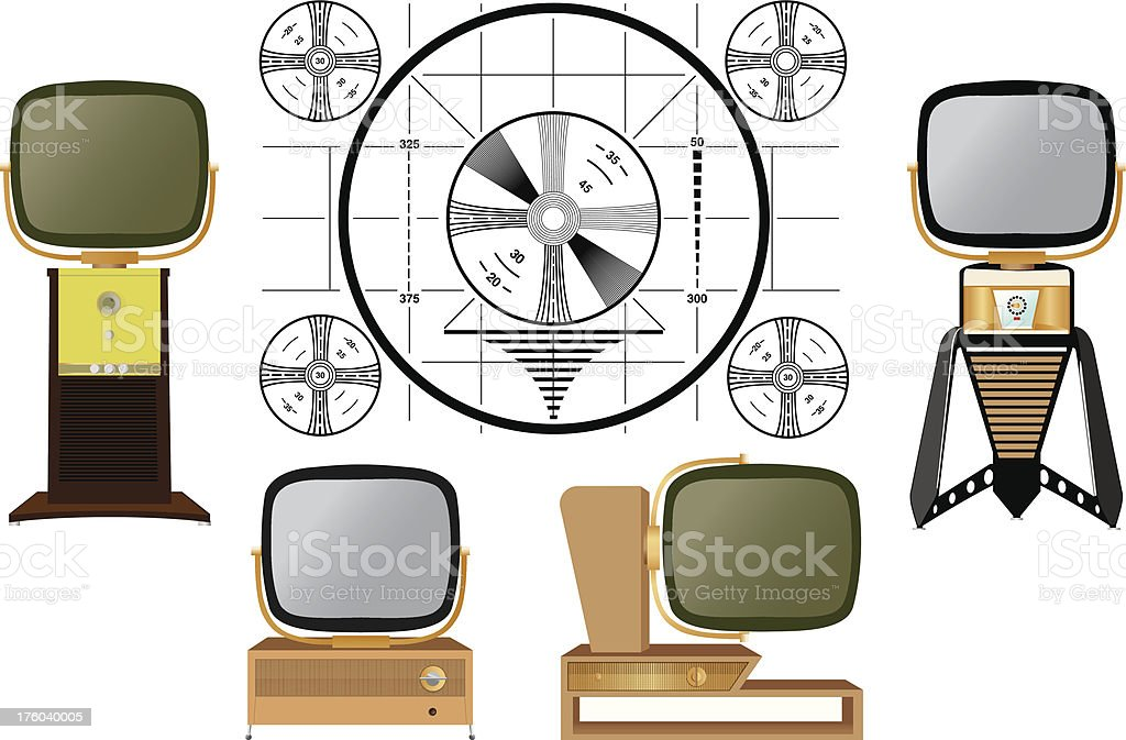Vintage Predicta Televisions - Test Pattern vector art illustration