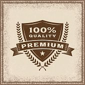 Vintage Premium 100% Quality label in woodcut style. Editable EPS10 vector illustration with transparency.
