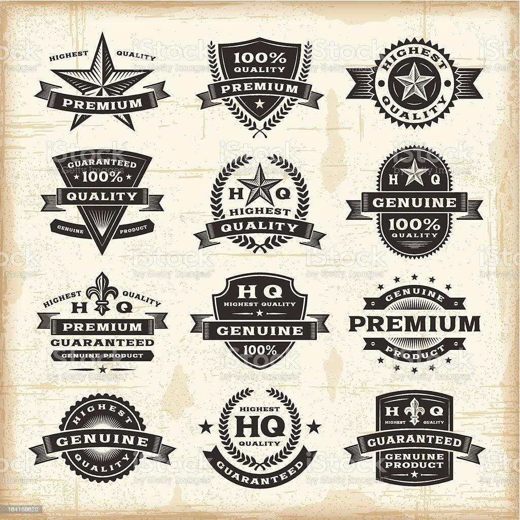 Vintage premium quality labels set royalty-free stock vector art
