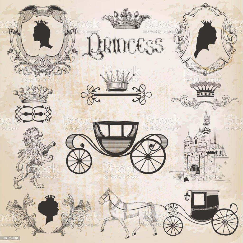 Vintage Princess Girl Set vector art illustration