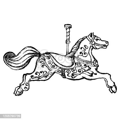 Vintage print style merry go round horse. Detailed black and white vintage vector illustration of a carousel horse.