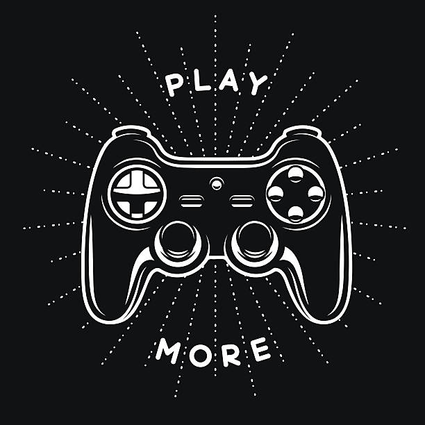 Vintage print with quote. Play more. Gamepad, joystick vector illustration. Vintage print with quote. Play more. Gamepad, joystick vector illustration. T-shirt monochrome design.  game controller stock illustrations