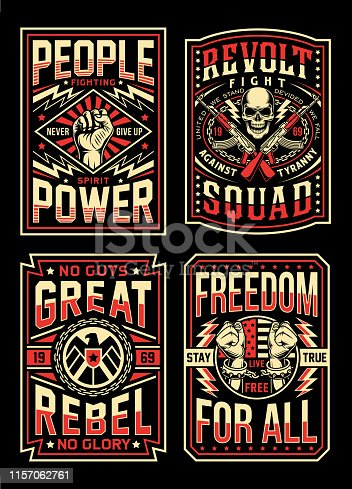 istock Vintage Propaganda T-shirt Designs Collection 1157062761