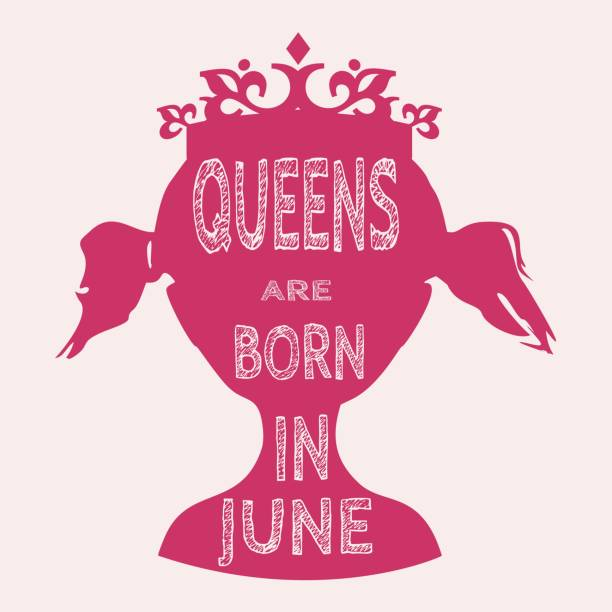 Vintage Queen Silhouette Motivation Quote Vector Art Illustration