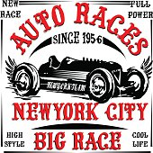 vintage race car print man t shirt vector graphic design