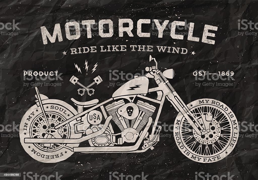 Vintage race motorcycle old school style. Black and white poster vector art illustration