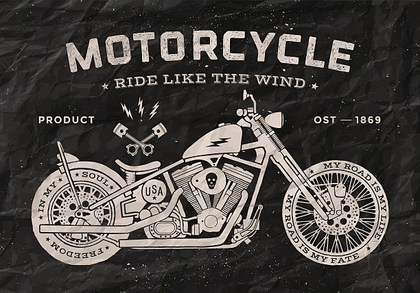 vintage race motorcycle old school style. black and white poster - motorcycle stock illustrations, clip art, cartoons, & icons