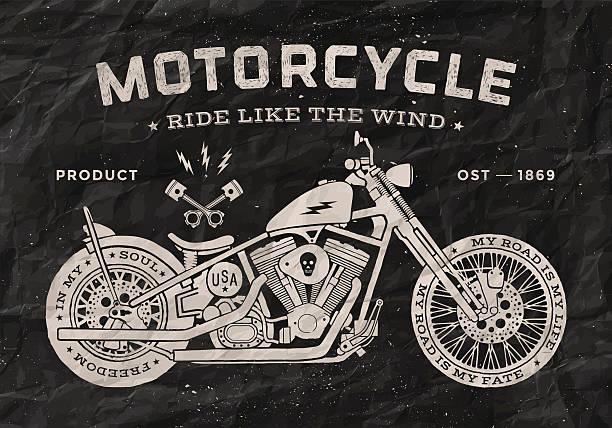 Carrera de motos Vintage estilo tradicional. Cartel blanco y negro - ilustración de arte vectorial