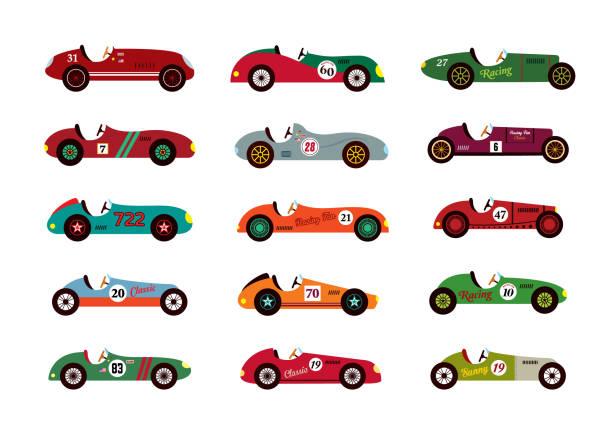 Vintage Racing Car Vektor – Vektorgrafik
