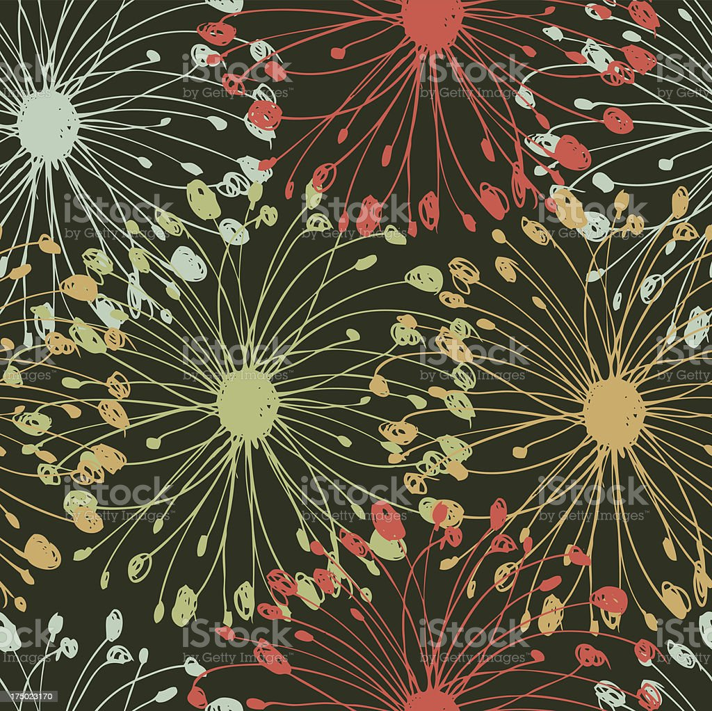Vintage radial pattern  Grungy floral seamless background royalty-free stock vector art