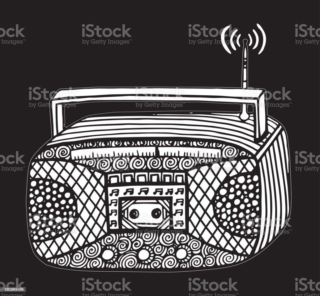 Vintage Radio Music Drawing - Illustration