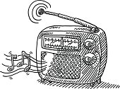 Hand-drawn vector drawing of a Vintage Radio playing Music. Black-and-White sketch on a transparent background (.eps-file). Included files are EPS (v10) and Hi-Res JPG.