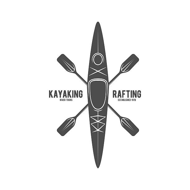 vintage rafting label badge or logotype - kayaking stock illustrations, clip art, cartoons, & icons