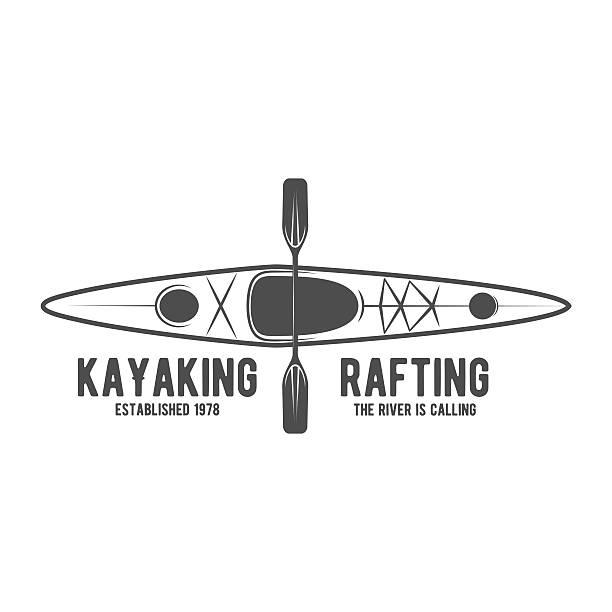 ilustraciones, imágenes clip art, dibujos animados e iconos de stock de vendimia tarjeta o etiqueta logotype rafting - kayak