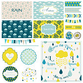 Vintage Rain & Sky Party Set - for Party