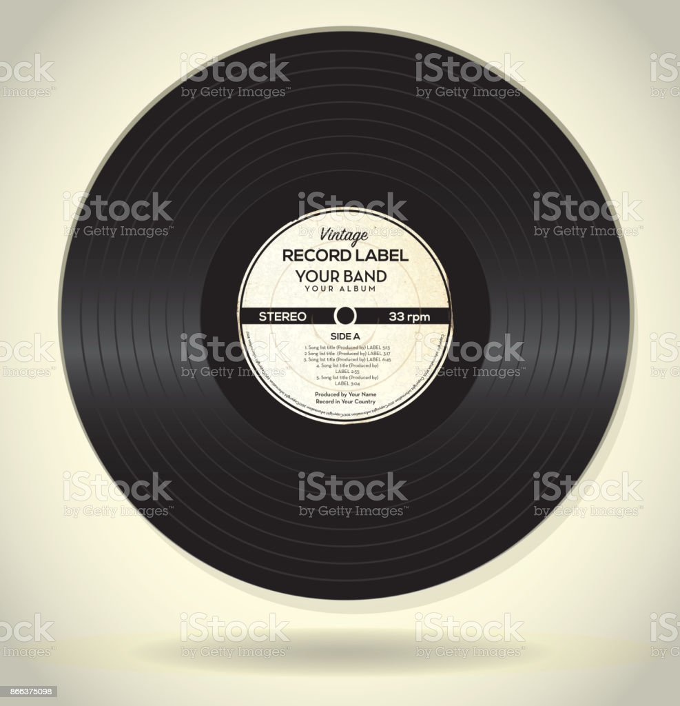 Vintage Record Label Design Template Stock Vector Art & More Images ...