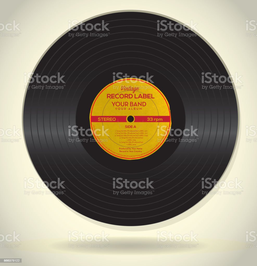 Vintage record label design template vector art illustration