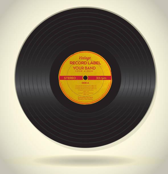 vintage-independent-label-design-vorlage - schallplatte stock-grafiken, -clipart, -cartoons und -symbole