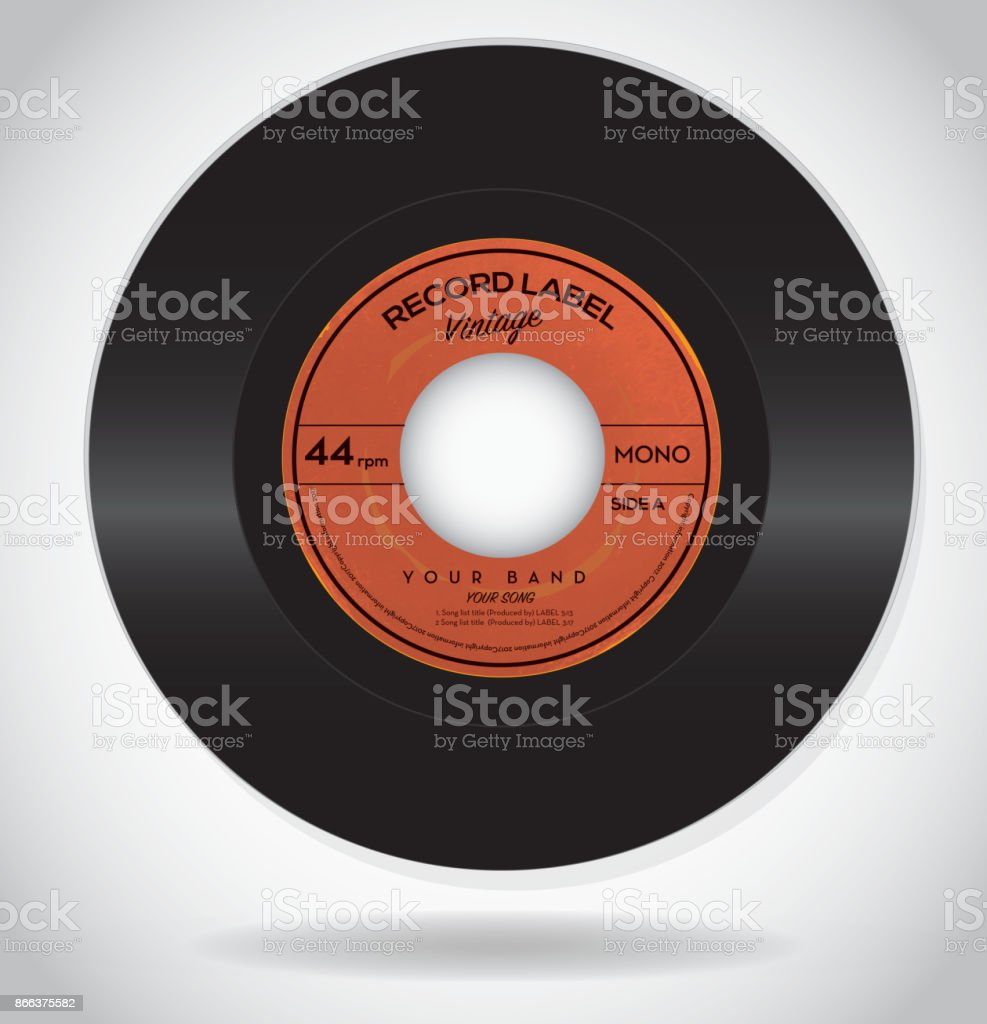 Vintage Record Label Design Template Stock Vector Art