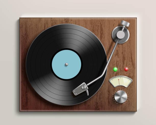 ilustrações, clipart, desenhos animados e ícones de toca-discos antigos com disco de vinil retrô. ilustração realista. - toca discos