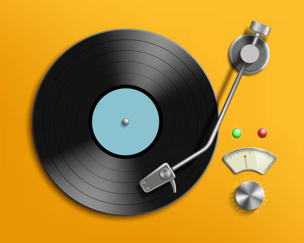 vintage record player with retro vinyl disc - record analog audio stock illustrations