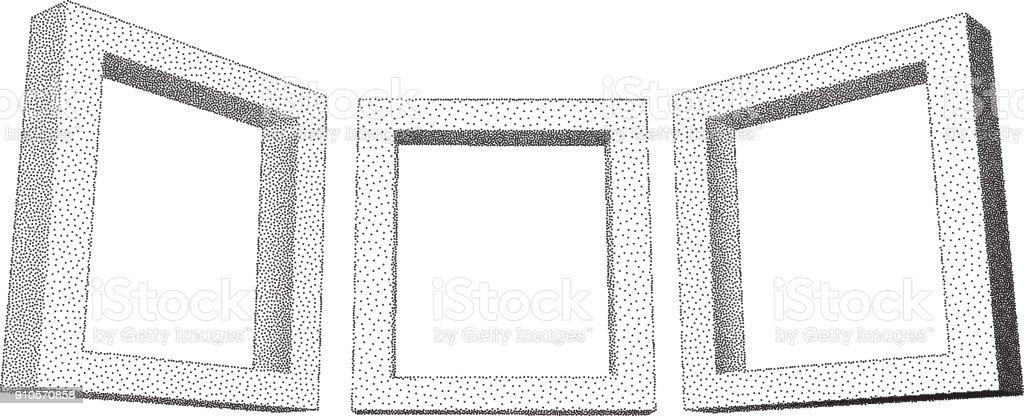 Vintage Rectangular Frames With Dotwork Gradient Stock Vector Art ...