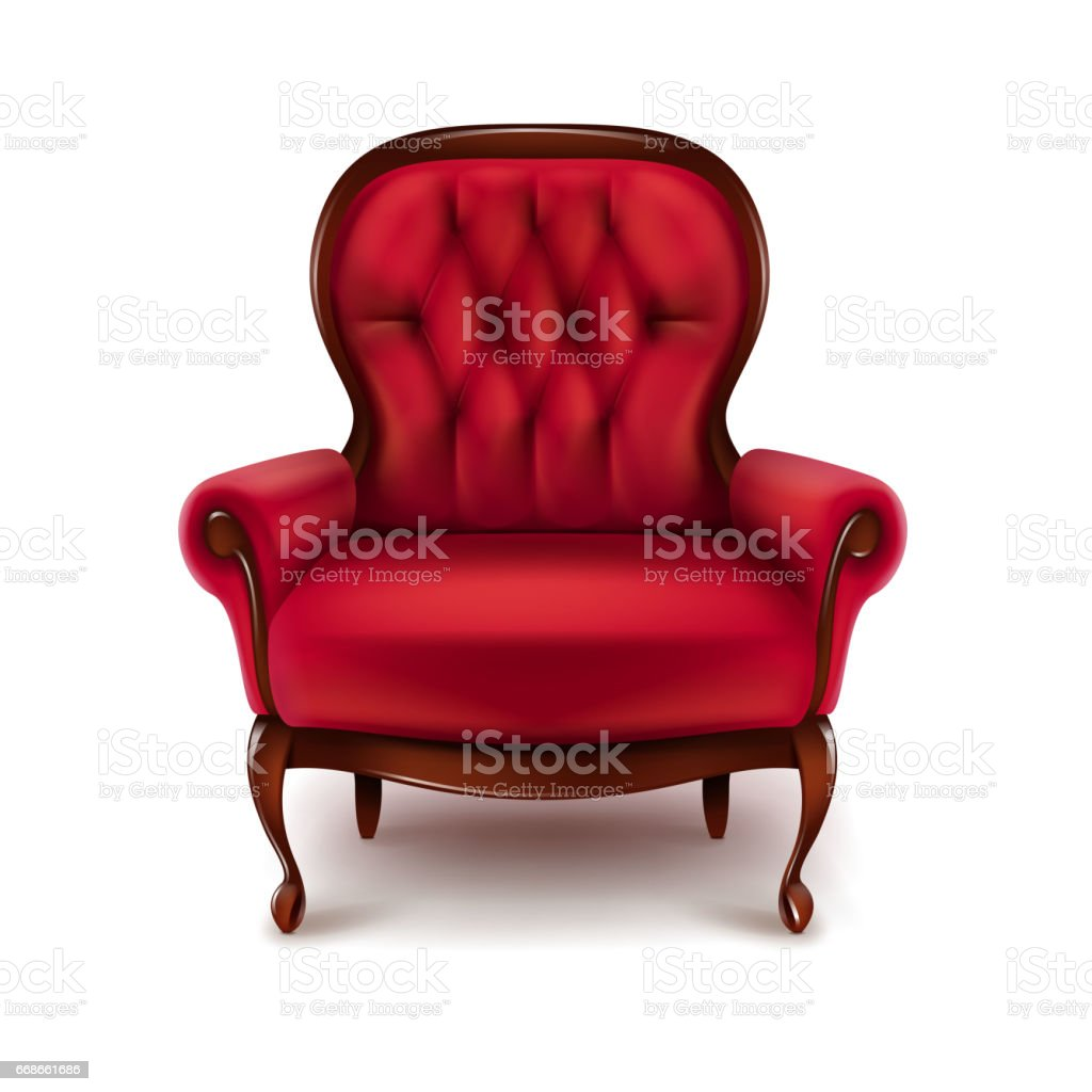 Vintage red armchair vector art illustration