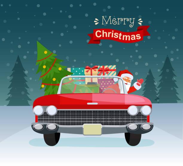 stockillustraties, clipart, cartoons en iconen met vintage rode cabriolet met kerstman, kerstboom en geschenkverpakkingen. vlakke stijl vectorillustratie - pinaceae