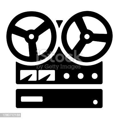 istock Vintage reel tape recorder icon. Retro stereo recorder symbol. 1280712133