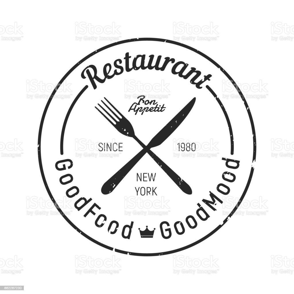 Vintage Restaurant logo - Fork, knife icon. Grunge texture vector art illustration