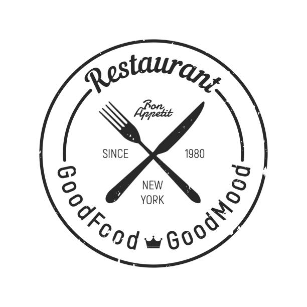 illustrazioni stock, clip art, cartoni animati e icone di tendenza di vintage restaurant logo - fork, knife icon. grunge texture - coltello posate