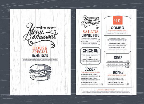 illustrazioni stock, clip art, cartoni animati e icone di tendenza di menu ristorante, design vintage e legno texture sfondo. - menù