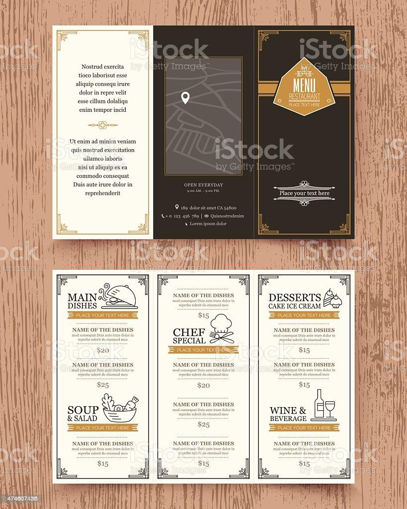 Vintage Restaurant Menu Design Pamphlet Template Royalty Free Stock